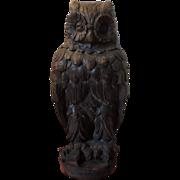 Antique 19th c. Architectural Element Roof Ornament Terra Cotta Owl Garden Statue