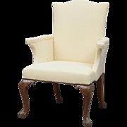 Antique Georgian Mahogany Upholstered Armchair - 19th c.