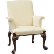 Antique Georgian Carved Mahogany Upholstered Armchair with Lion Paw Feet