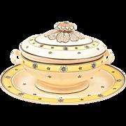 Antique 19th century English Creamware Soup Tureen and Platter Davenport