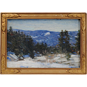 "Everett Warner Impressionist Oil Painting on Board Titled ""A December Day"" in Origin"