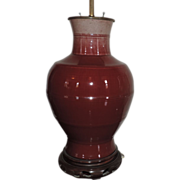 Antique 19th century Chinese Baluster Shaped Porcelain Vase with Monochrome Oxblood Flambe Glaze Mounted as a Lamp