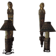 Pair Antique 18th century French Empire Tole Argand Wall Sconces in the Form of Diana ...