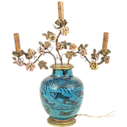 19th c. Persian Turquoise Vase French Mounted with Porcelain Flowers as a Lamp