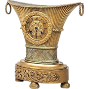 Antique French Empire Gilt Bronze 'Flower Vase' Mantle Clock Charles X 1825
