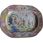 Antique Early 19th c. Mason's Ironstone China Platter Chinese Pink Scroll 1820
