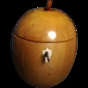19th c. English Wood Apple Form Tea Caddy