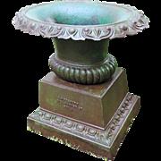 Antique 19th century American Cast Iron 3 Part Oval Garden Urn G. Hitzeroth 3124 Market Street Philadelphia