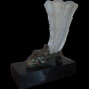 Antique 19th century English Regency Mantel Garniture Vase Cut Crystal Cornucopia in Gilt ...