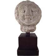American Art Deco Carved Stone Garden Ornament - Bust of the Sun 1920