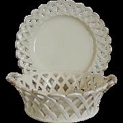 Antique 18th century English Georgian Creamware Round Chestnut Basket or Fruit Bowl and Under Plate