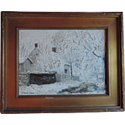 Early 20th century American Impressionist Winter Snow Scene Oil Painting on Canvas 1920 - 1930
