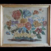 Antique 19th century American Folk Art Theorem of a Flower Basket