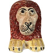 Antique 18th century English Staffordshire Pearlware Window Support in the Form of a Lion's ..