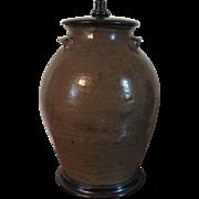 Large Antique 19th century Salt Glaze Stoneware Crock Mounted as a Table Lamp