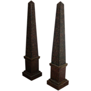 Fine and Rare Pair of Early 19th c. French Empire Tole Obelisks in Paint Decorated Porphyry Finish