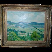 George Davidson Connecticut Impressionist Plein Air Landscape Painting Oil on Board c. 1930 wi