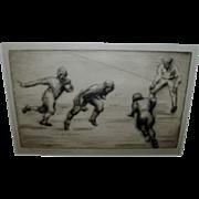 Rosamond Tudor Signed Etching - Footballers c. 1920