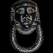 19th c. English Regency Egyptian Revival Door Knocker in the form of Pharaoh
