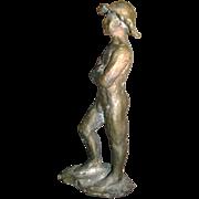 Early 20th c. Provincetown School Bronze Figure of a Toe Head Boy