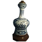 Good 18th c. Delft Blue & White Knobble Shaped Vase as a Lamp with Chinoiserie Decoration