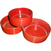 Set 3 Graduated Regency Red Cinnabar Lacquer Wine Decanter Coasters c. 1815