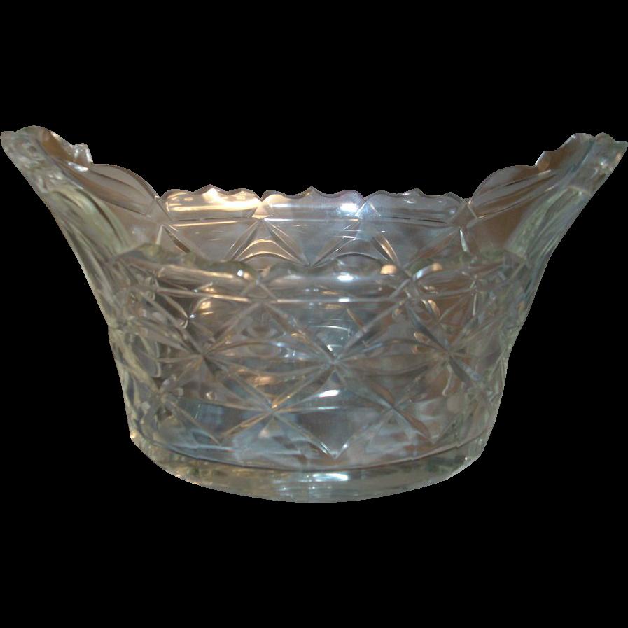 18th c. Georgian Anglo Irish Lead Crystal  Cut Glass Compote Centerpiece 1790