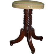 Early 19th c. American Federal Mahogany Piano Stool in Classical Taste with Petit Point Seat - 1820