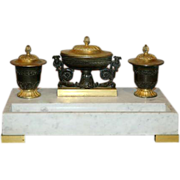 19th c. French Empire Gilt & Patinated Bronze on White Marble Encrier or Inkwell