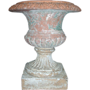 Large 18th century English Terra Cotta 3 Piece Classical Garden Urn