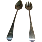 George III London Sterling Silver Large Serving Spoons for Stuffing or Salad
