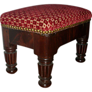 Early 19th c. American Federal / Classical Boston Mahogany Foot Stool 1820