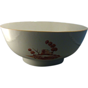 18th century Chinese Export Porcelain Rouge de Fer Footed Punch Bowl