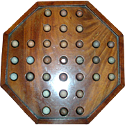 Early 19th c. Regency Mahogany Game Board with Original Clay Marbles