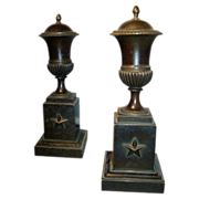 Pair Early 19th c. Regency Bronze Urns and Covers in the Empire Taste 1810