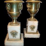 Fine Pair Early 19th c. French Empire Gilt Bronze & White Marble Garniture Urns - Ormolu