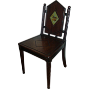 Rare 19th century Regency Mahogany Hall Chair with Painted Crest