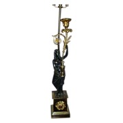 Early 19th c. Regency Gilt Bronze Candelabra Mounted as a Lamp