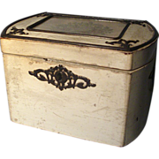 Early 19th c. English Regency White Ebonized Steel Mounted Tea Caddy with Petit Point