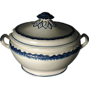 Early and Large 19th c. Leeds Creamware Blue Feather Edge Soup Tureen & Cover