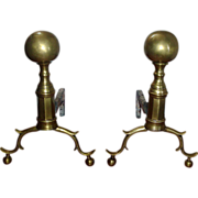 Early 19th c. American Classical Brass Andirons with Ball Finials - Boston 1810