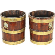 Pair Late 18th c. George III Walnut Brass Bound Decanter Caddies or Wine Bottle Coasters c. 18