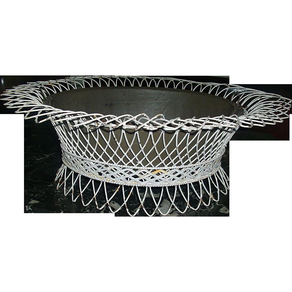 19th c. Antique Victorian Wirework Fern Basket Garden Planter