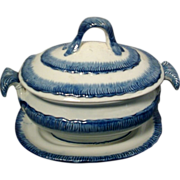 Early 19th century Pearlware Blue Feather Edge Sauce Tureen and Undertray 1800