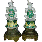 19th c. Chinese Porcelain Ho Ho Boys in Famille Vert Glaze as Lamps