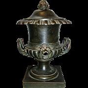 Antique 19th c. English Regency Bronze Urn Vase Colza Oil Lamp 1815