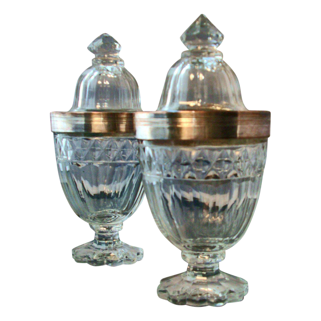 Pair Antique 18th century Anglo Irish Cut Glass Urns and Covers with Old Sheffield Silver Mounts
