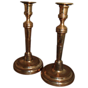 Pair of 18th c. Continental Brass Candlesticks