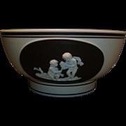 Early 19th century Jasperware Bowl in Chocolate Brown Dip Glaze 1810