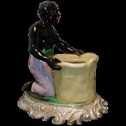 Antique 19th century Old Paris Porcelain Jacob Petit Blackamoor Inkwell